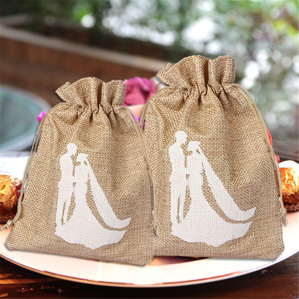 12 PCS 10x19cm Linen Jute Drawstring Gift Bags Sacks Party Favors Packaging Bag Wedding  ...