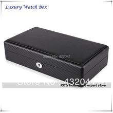 Alta calidad de fibra de carbono negro acabado 12 caja de reloj adecuado para grandes relojes del organizador del almacenaje GC02-TP-12