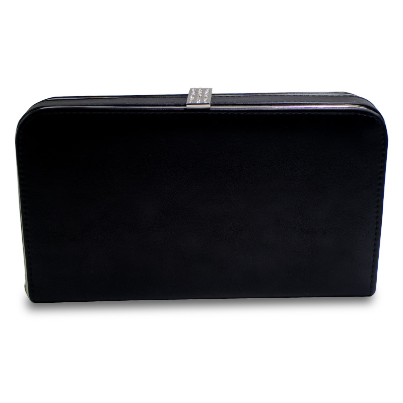 Black Leather Hard Box Purse Wallet Clutch Evening Bags and Crystal Evening Clutch Bag for Women Party party box black