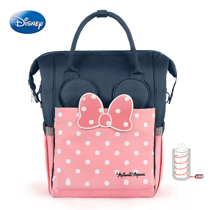 Disney Thermal Insulation Bag USB Oxford Cloth Diaper Storage Backpack Baby Care Diaper Bags High-capacity Feeding Bottle Bags