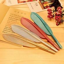 цены 20pcs/lot Hot Sale Creative Feather Shape Ballpoint Pen High Quality Plastic Writing For Kids Children Free Shipping Gift Pens