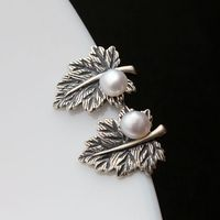 Ecoworld Ge jewelry wholesale retro leaves Thailand Tremella nail hand set natural pearls 925 Sterling Silver Earring