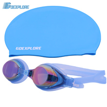 Goexplore ore плавать ming cap+ плавать ming очки для мужчин женщин взрослых свободный размер водонепроницаемые спортивные купальники для бассейна очки для плавания