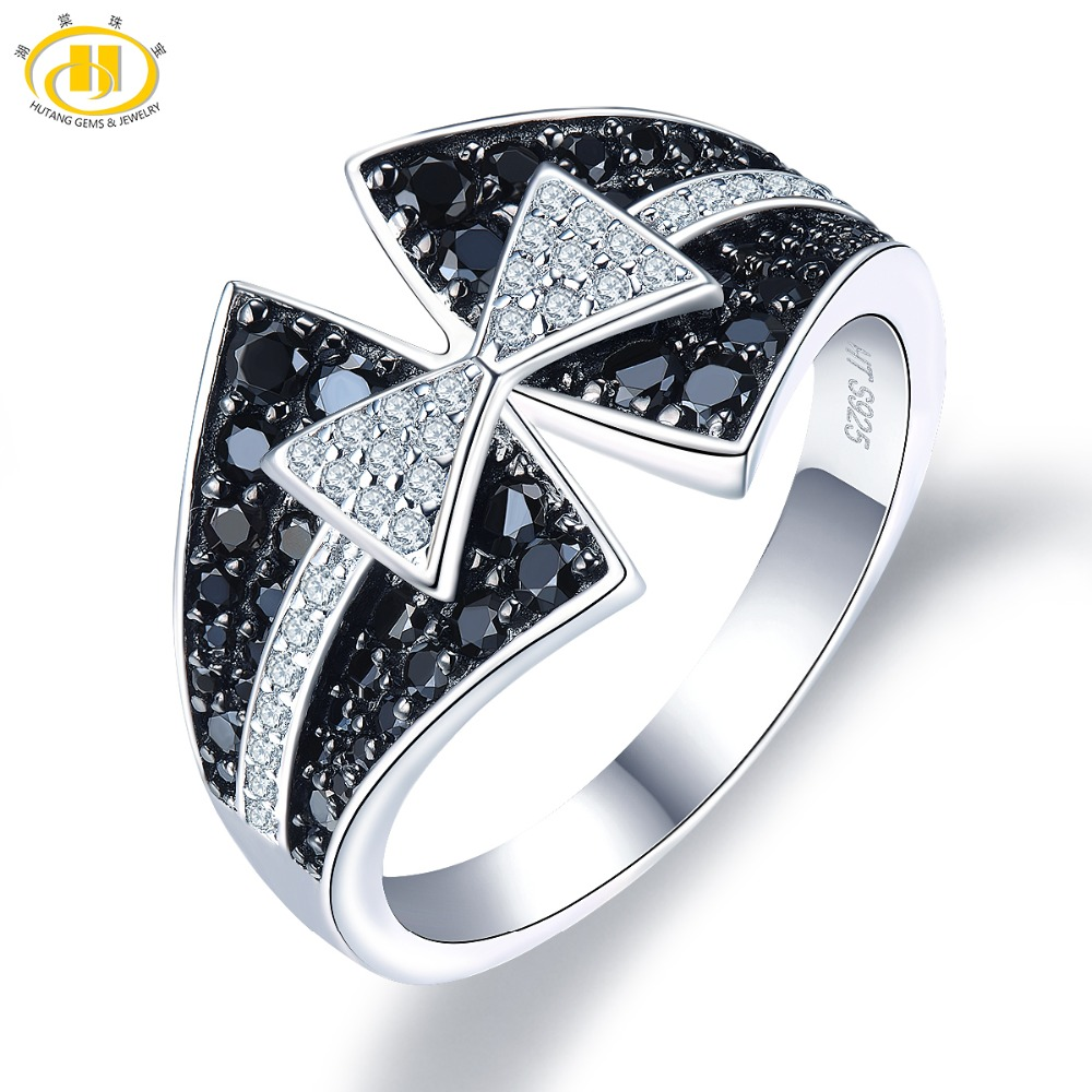 Hutang Spinel Engagement Rings Natural Gemstone 925 Sterling Silver Ring Bowknot Fine Fashion Stone Jewelry For