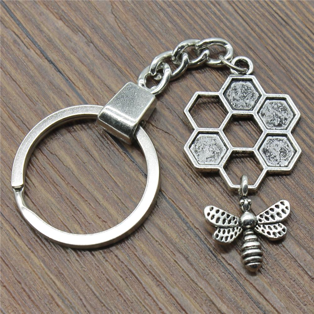 Honey Bee Keyring Honey Bee Keychain 46x25mm Antique Silver Color Honey Bee Key Chain Souvenir Gifts For Men