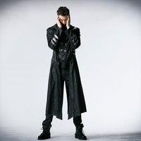 Панк Рейв черный стрейч саржа ткань пальто с Календарь Скорпион кожа и Съемный шляпа Y 364