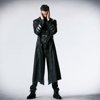 PUNK RAVE Black Stretch Twill Fabric Coat With Calender Scorpion Leather And Removable Hat