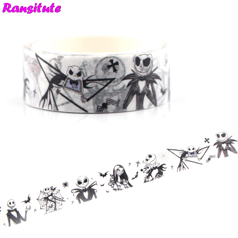 Ransitute R483 The Nightmare Before Christmas Horror Japanese Pocket Washi Tape DIY Color Decoration Detachable Sticker