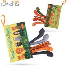 Детская тканевая книга Tumama, с хвостами животных, мягкая подвесная игрушка-погремушка для коляски, развивающие и обучающие игрушки для новорожденных