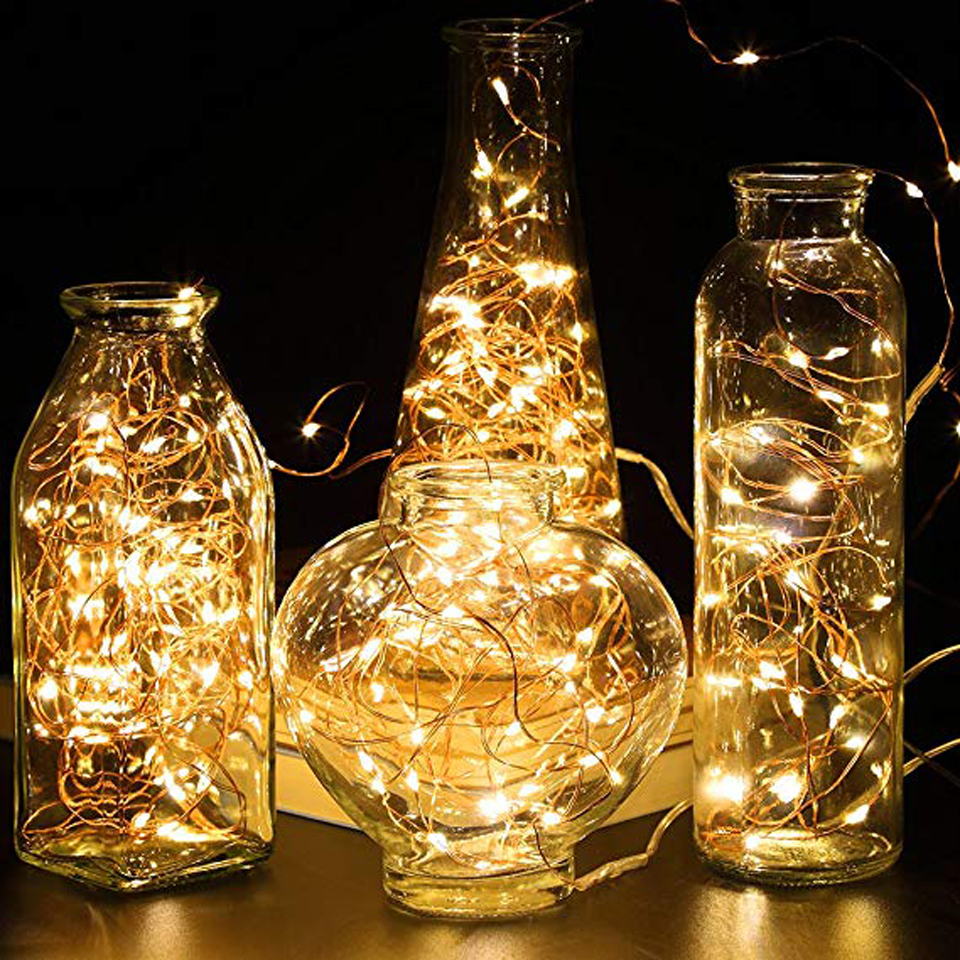 Xsky LED Copper Wire String Lights 1M 2M Battery Operated Fairy Lights Xmas Garland Party Wedding Glass Craft Bottle Decorative