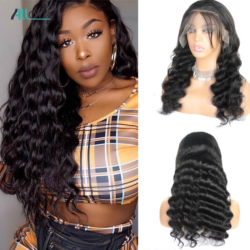 Allove Brazilian Loose Deep Wave Lace Front Wigs Pre Plucked With Baby Hair Lace Front Remy