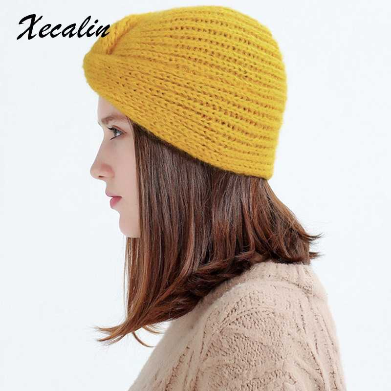 2e9e6aaa930 Xecalin 2018 Winter hats Women off White Knitted Beanie Female Warm Yellow  Caps Streetwear Gorros Mujer