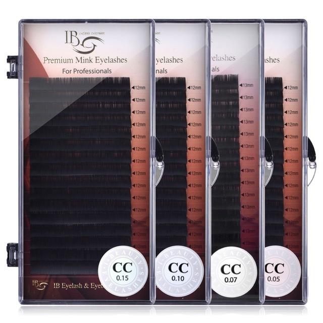 Eu beleza cílios 8mm 16mm extensão de cílios individuais ib premium real vison cílios cc volume curl cílios ibeauty cílios cola