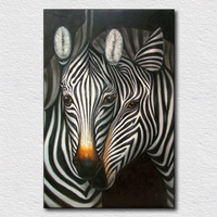 Hand painted Giraffe twins modern sofa wall painting Hot Selling Fine picture Animal Oil Painting On Canvas