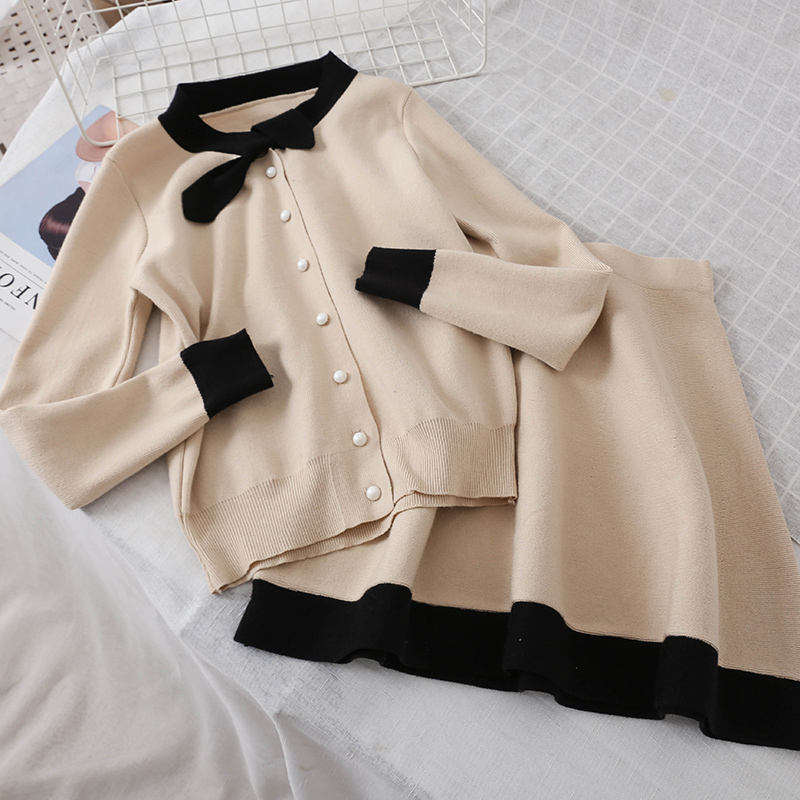 Women 2 Pieces Knit Sets Bow collar Knitted Sweater Tops +skirts Suits women