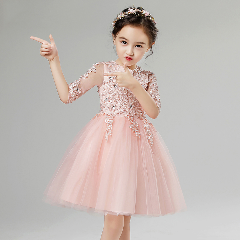 Kids Evening Gowns Pearl Beading Flower Girl Dresses for Wedding Ball Gown Appliques Girls Pageant Dress Birthday Costume B100 half placket pearl beading tie cuff dress