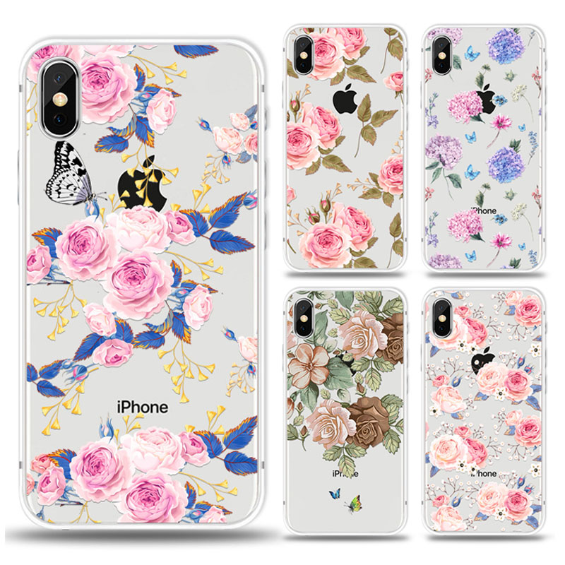 KIPX1027_2_JONSNOW For iPhone 7 Flowers Pattern Soft Case For iPhone 6 6S 7 8 Plus Clear Back Cover for iPhone 5 5S SE Capa Coque Fundas