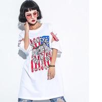 Summer Loose Hip Hop T Shirt Woman One Size Long Print Punk Letter Sexy Dance Clothes Rock T Shirts Women Tops Tee Shirts