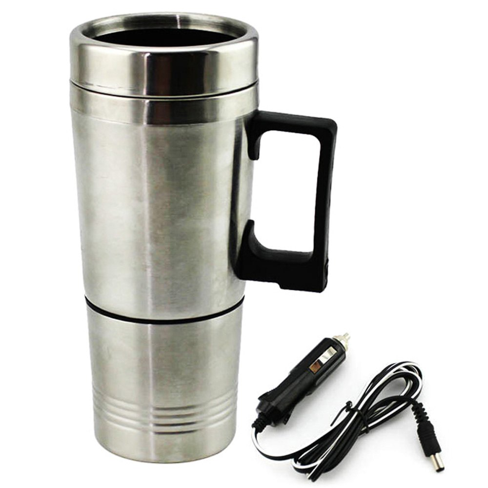 Stainless Steel Vacuum Cup Practical Car Electrical Heating Cup Practical Car Cigar Lighter Plug Thermal Insulation Function