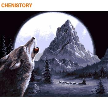 CHENISTORY 늑대 동물 Diy 디지털 숫자로 벽화 그림 아크릴 드로잉 페인트 40x50 cm