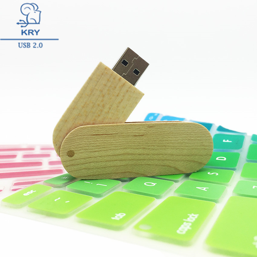 KRY can be customized company logo wooden rotating USB2.0 flash drive 2.0 4GB 8GB 16GB 32GB 64GB wooden U disk storage device