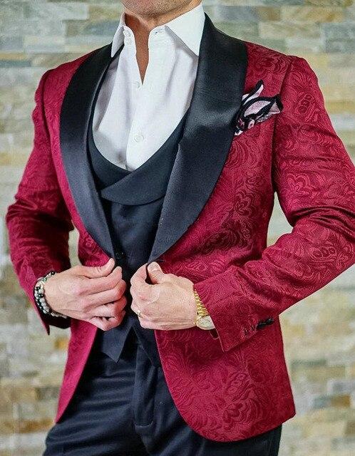 2018 جديد تصميم الرجال بدل زفاف العريس بدلة رسمية من أزرار عنابي سهرة سترة الرجال بدلة 3 قطع زي أوم-في بدلة من ملابس الرجال على  مجموعة 1