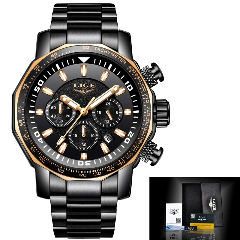 Mens Watches LIGE Top Brand Luxury Men Waterproof Sport Military Watch Men Stainless Steel Quartz Clock Relogio Masculino burei mens watches top brand luxury men quartz analog clock stainless steel strap watches waterproof relogios masculino 2018 new