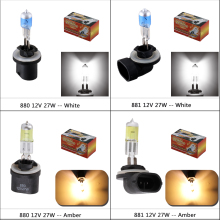 881 894 H27 Halogen Bulb 27W - 880 889 H27W Headlight fog lamp light running parking 12V White Yellow Amber Car Lights D020