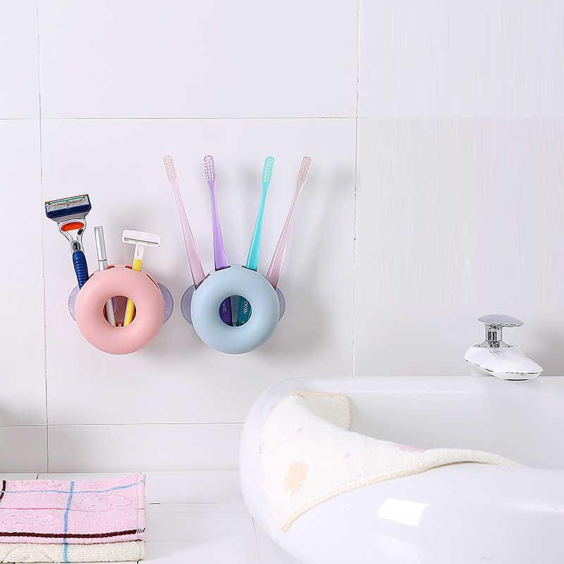 1 pc do montażu na ścianie uchwyt na szczoteczkę do zębów mocna przyssawka pasta do zębów stojak do przechowywania zębów organizer do pędzli kuchnia łazienka akcesoria