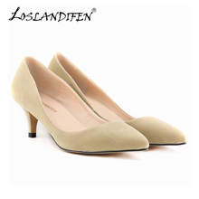 New Bestselling Women Pumps Party Shoes Pointed Toe High Heels Flock Shoes Woman High Heels Women Shoes Heels 678-1VE