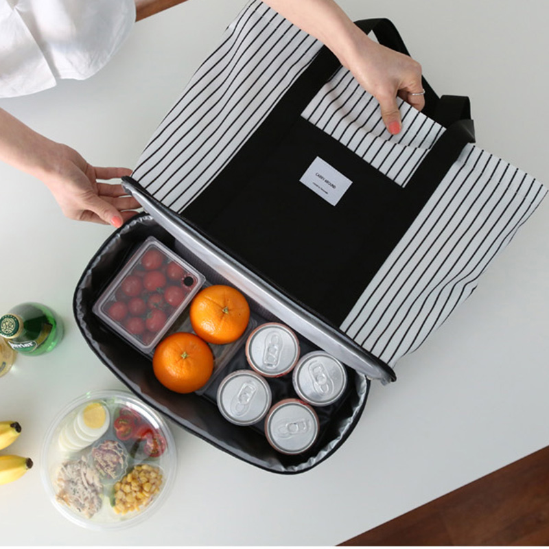 NIBESSER Striped Double Zipper Insulation Lunch Bag Thermo Waterproof Picnic Food Bag Functional Bag Portable Cooler Lunchbox