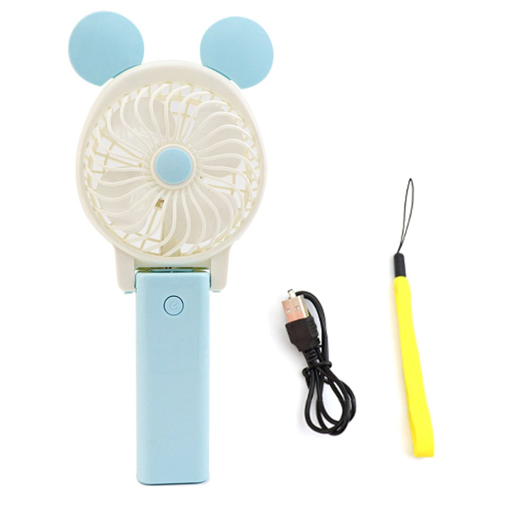 Foldable Portable Hand Usb Fan Battery Operated Handheld Mini Fan Cooler With Strap Cartoon Cooling For