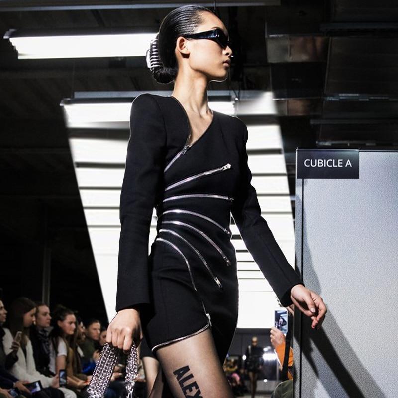 Longues Multi Sexy Femmes Zip Noire Designer À Lourd Robes Manches Vintage Robe Mini 1w7a8xq