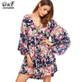 Dotfashion Beach Dress Women Multicolor Floral Lace Up Bell Sleeve Mini Dresses Fringe Loose Clothing 2017 Spring Summer Dress