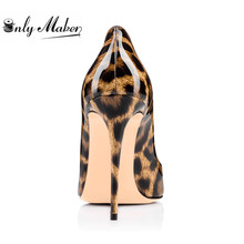 Onlymaker 12cm Thin Heel Women's Pumps Shoes With Heart Shape Decoration Leopard Spike Shoes Plus size US 13