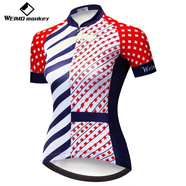 Summer Short Sleeve Women 2018 MTB Bike Clothing Breathable Bicycle Ropa  Ciclismo Girls Cycling Jersey Shirt Youth Red Cross 249ad648c