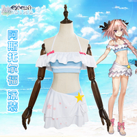 Anime Game Fate/Extella Astolfo swimsuit/swimwear Cosplay FGO astolfo cosplay costumes crop top + skirts