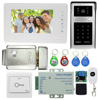 Free Shipping 700tvl Video Doorbell Camera With RFID Digital Panel 7 Video Doorphone Monitor Electric Lock