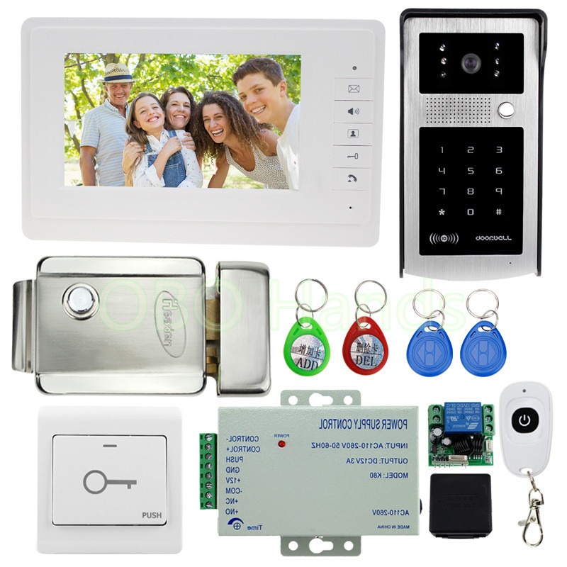 Free shipping 700tvl video doorbell camera with RFID digital panel+7'' video doorphone monitor+electric lock for intercom system digital electric best rfid hotel electronic door lock for flat apartment