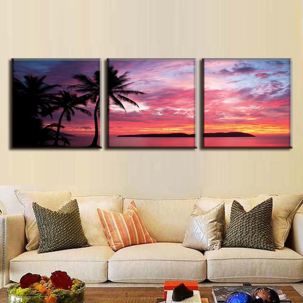 3 pcs set canvas wall art picture modern seascape oil painting canvas print palm tree and burning clouds home decoration in painting calligraphy from home
