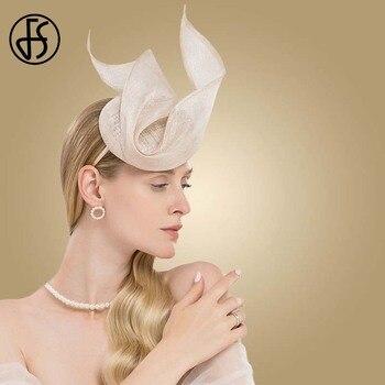 FS Fascinator Pink Ladies Hat For Wedding Women Elegant Kentucky Derby Hats Black Sinamay Church Linen Fedoras Chapeau Femme multi brimmed sinamay hat