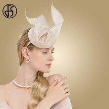 FS Fascinator pembe bayan şapka düğün kadınlar için zarif Kentucky Derby şapkalar siyah Sinamay kilise keten Fedoras Chapeau Femme