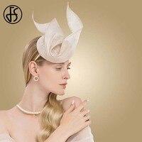FS Sinamay Fascinator Beige Formal Ladies Hat For Wedding Women Elegant Kentucky Derby Hats Church Linen Fedoras Chapeau Femme