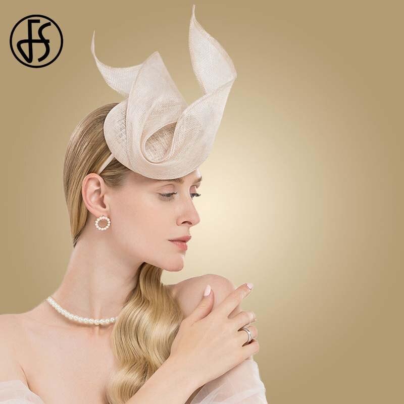 FS 魅惑的なピンクレディース帽子結婚式の女性のエレガントなケンタッキーダービー帽子黒 Sinamay 教会リネン Fedoras 帽子ファム  グループ上の アパレル アクセサリー からの フェドーラ の中 1