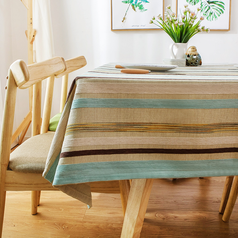 Simple striped tablecloth art blue living room coffee ...
