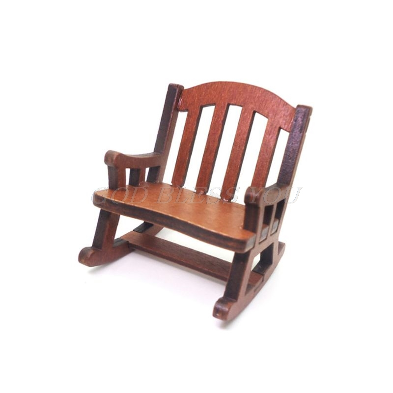 1:12 Dolls House Miniature Furniture Wooden Rocking Chair For Dolls Kids Girls Role Play Toys Gift Dollhouse Decoration
