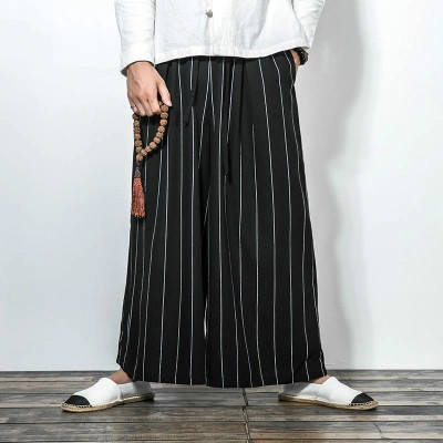 Men Street Dance Pants Autumn Loose Trousers Chiese Style Fit New 2017 Funky Hip Hop Male striped Dancing Pants Free Shipping