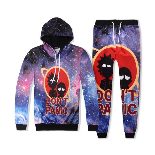 2019 New Sexy Design 2 Piece Women Set 3D Ricky And Morty Hooded Long Sleeve Pants Women Elasticity Tracksuits Set Dropship