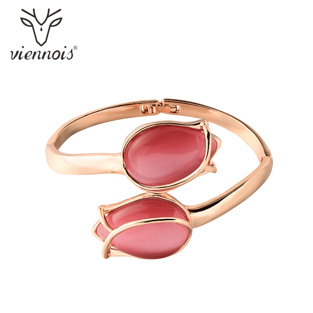 Viennois Rose Gold Color Red Tulip Bracelet & Bangles For Women Fashion Opals Wedding Party Bracelet & Bangles Jewelry