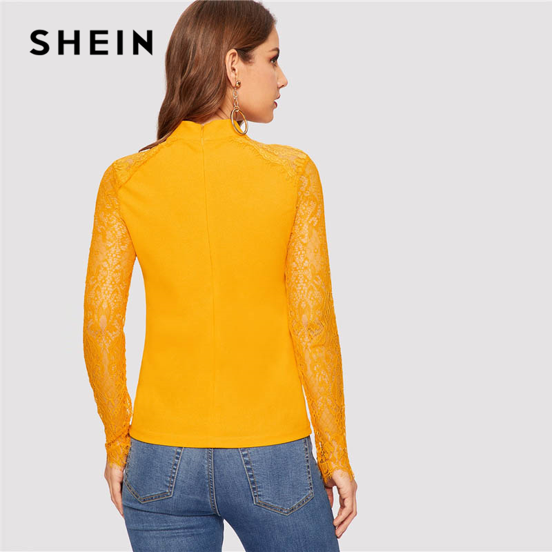 Shein Raglán Elegante Manga As Top Tops Amarillo Casual Y Simple De Primavera Mujer Larga Blusa Picture Equipado Cuello Slim Blusas Color rwItrvn4q